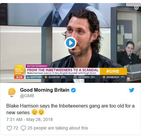 Twitter post by @GMB: Blake Harrison says the Inbetweeners gang are too old for a new series 😞😞