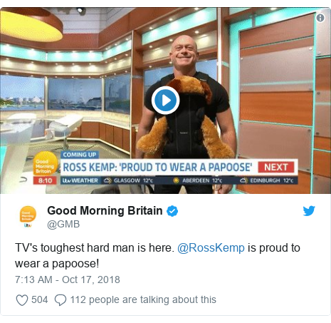 Twitter post by @GMB: TV's toughest hard man is here. @RossKemp is proud to wear a papoose!