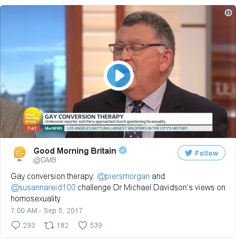 Twitter post by @GMB: Gay conversion therapy  @piersmorgan and @susannareid100 challenge Dr Michael Davidson's views on homosexuality pic.twitter.com/qZxmLMgZRz