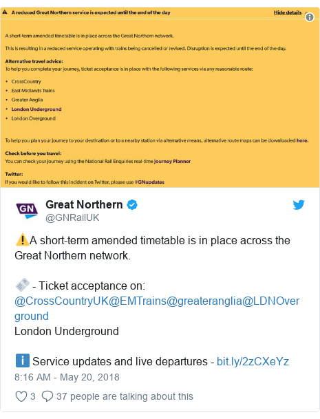 Twitter post by @GNRailUK: ⚠️A short-term amended timetable is in place across the Great Northern network.🎫 - Ticket acceptance on  @CrossCountryUK@EMTrains@greateranglia@LDNOvergroundLondon Undergroundℹ️ Service updates and live departures -