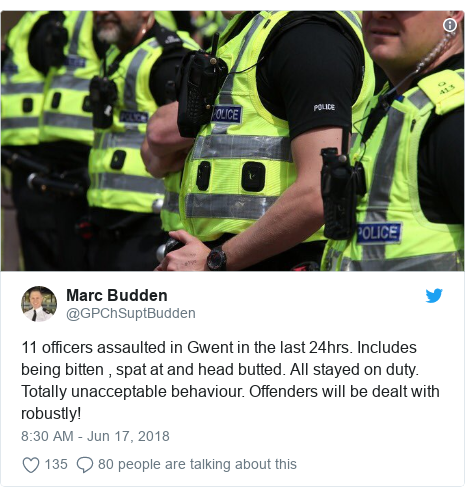 Twitter post by @GPChSuptBudden: 11 officers assaulted in Gwent in the last 24hrs. Includes being bitten , spat at and head butted. All stayed on duty. Totally unacceptable behaviour. Offenders will be dealt with robustly!