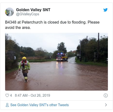 Twitter post by @GValleyCops: B4348 at Peterchurch is closed due to flooding. Please avoid the area.