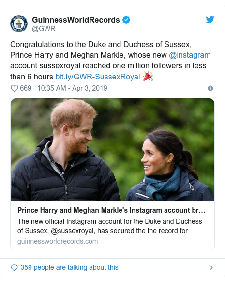 Twitter post by @GWR: Congratulations to the Duke and Duchess of Sussex, Prince Harry and Meghan Markle, whose new @instagram account sussexroyal reached one million followers in less than 6 hours  🎉