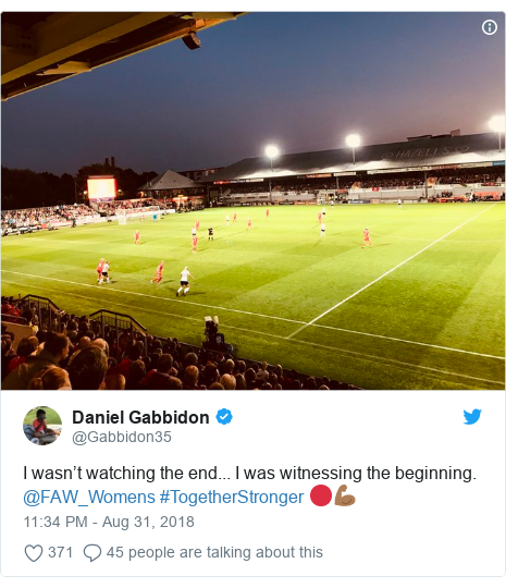 Twitter post by @Gabbidon35: I wasn't watching the end... I was witnessing the beginning.  @FAW_Womens #TogetherStronger 🔴💪🏾