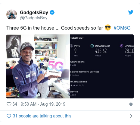 Twitter post by @GadgetsBoy: Three 5G in the house ... Good speeds so far 😎  #OM5G