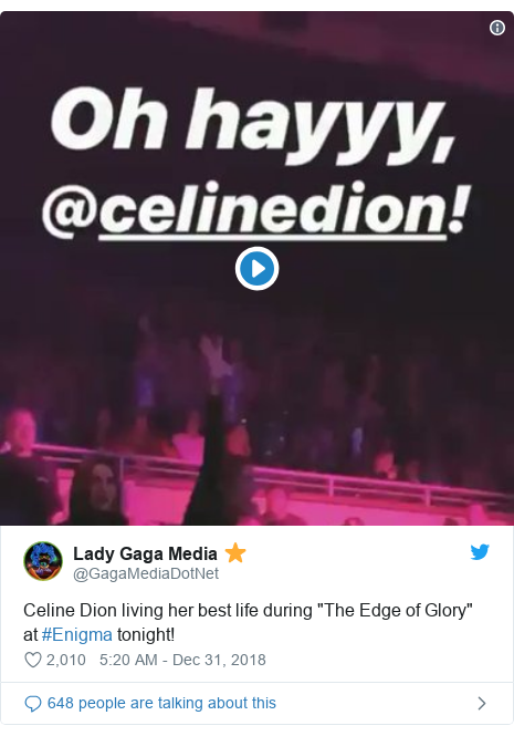 "Twitter post by @GagaMediaDotNet: Celine Dion living her best life during ""The Edge of Glory"" at #Enigma tonight!"