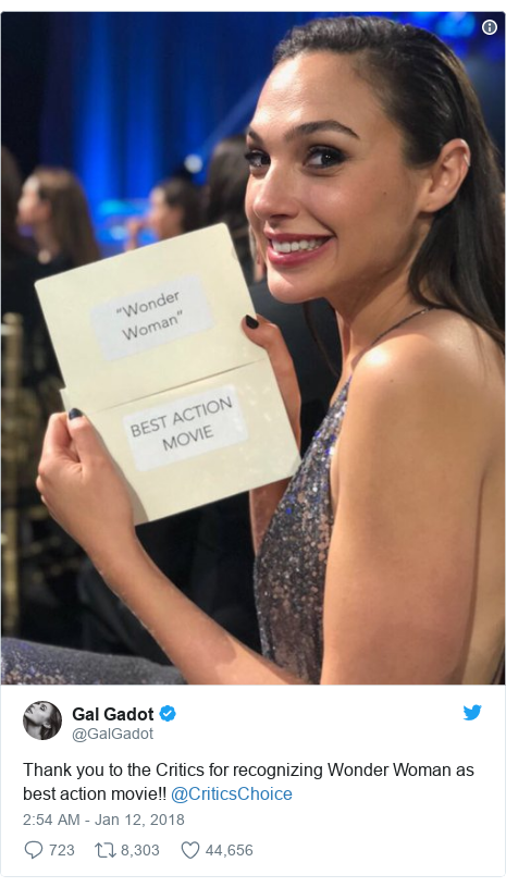 Twitter post by @GalGadot: Thank you to the Critics for recognizing Wonder Woman as best action movie!! @CriticsChoice