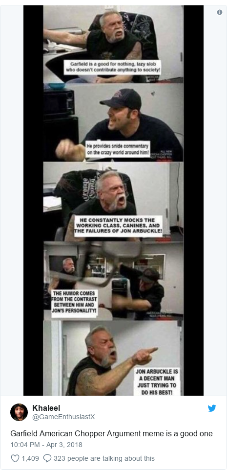 Twitter post by @GameEnthusiastX: Garfield American Chopper Argument meme is a good one