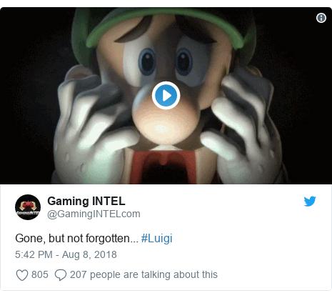 Twitter post by @GamingINTELcom: Gone, but not forgotten... #Luigi