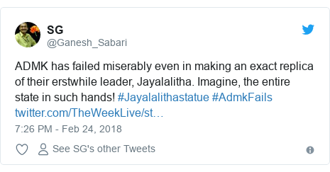 Twitter post by @Ganesh_Sabari: ADMK has failed miserably even in making an exact replica of their erstwhile leader, Jayalalitha. Imagine, the entire state in such hands! #Jayalalithastatue #AdmkFails
