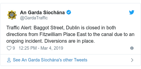 Twitter post by @GardaTraffic: Traffic Alert  Baggot Street, Dublin is closed in both directions from Fitzwilliam Place East to the canal due to an ongoing incident. Diversions are in place.