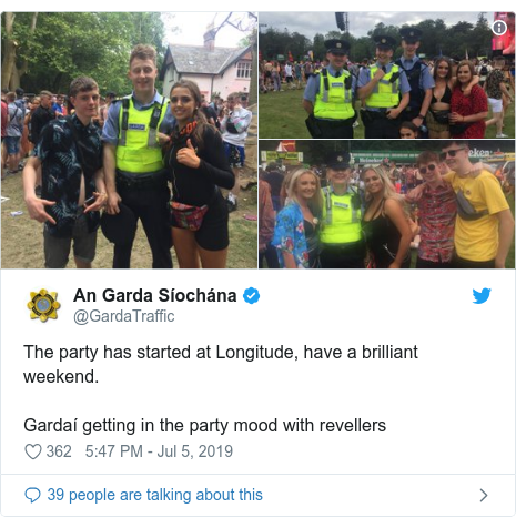 Twitter post by @GardaTraffic: The party has started at Longitude, have a brilliant weekend.Gardaí getting in the party mood with revellers