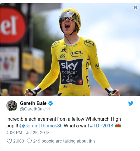 Twitter post by @GarethBale11: Incredible achievement from a fellow Whitchurch High pupil! @GeraintThomas86 What a win! #TDF2018 🏴