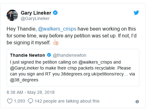 Twitter post by @GaryLineker: Hey Thandie, @walkers_crisps have been working on this for some time, way before any petition was set up. If not, I'd be signing it myself. 👍🏻