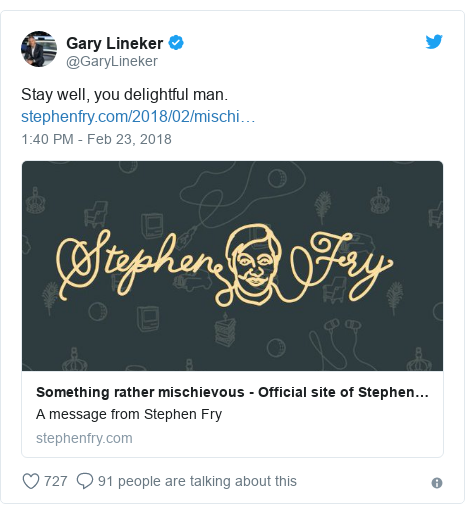 Twitter post by @GaryLineker: Stay well, you delightful man.