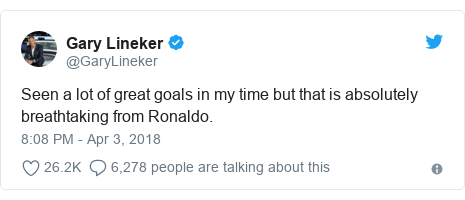 Twitter post by @GaryLineker: Seen a lot of great goals in my time but that is absolutely breathtaking from Ronaldo.