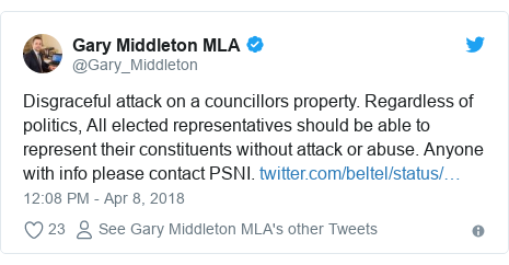 Twitter post by @Gary_Middleton: Disgraceful attack on a councillors property. Regardless of politics, All elected representatives should be able to represent their constituents without attack or abuse. Anyone with info please contact PSNI.