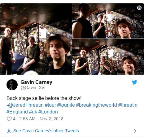 Twitter post by @Gavin_XVI: Back stage selfie before the show!-@JeredThreatin #tour #tourlife #breakingtheworld #threatin #England #uk #London