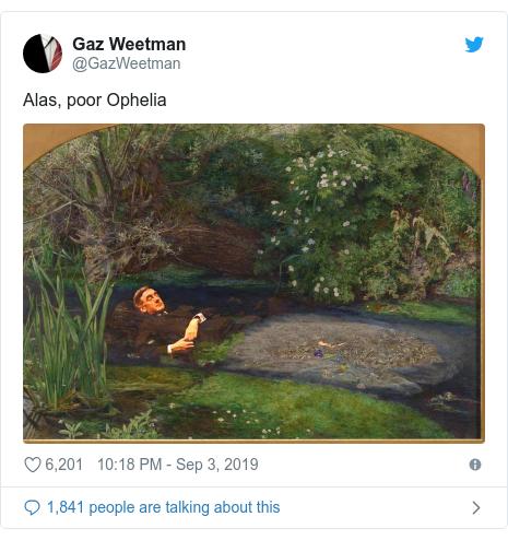 Twitter post by @GazWeetman: Alas, poor Ophelia