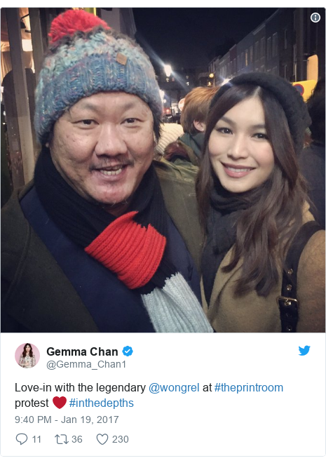 Twitter post by @Gemma_Chan1: Love-in with the legendary @wongrel at #theprintroom protest ❤️ #inthedepths