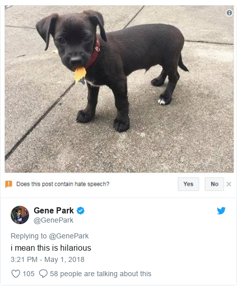 Twitter post by @GenePark: i mean this is hilarious