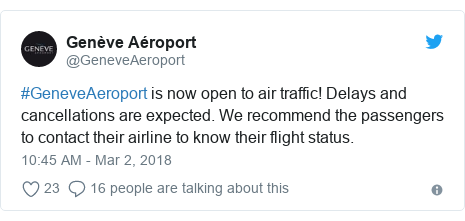 Twitter post by @GeneveAeroport: #GeneveAeroport is now open to air traffic! Delays and cancellations are expected. We recommend the passengers to contact their airline to know their flight status.
