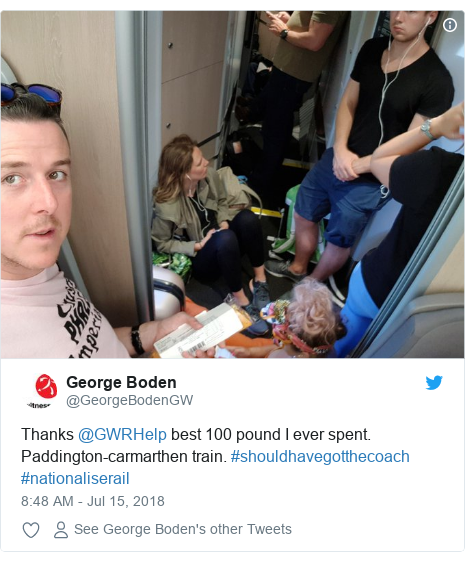 Twitter post by @GeorgeBodenGW: Thanks @GWRHelp best 100 pound I ever spent. Paddington-carmarthen train. #shouldhavegotthecoach #nationaliserail