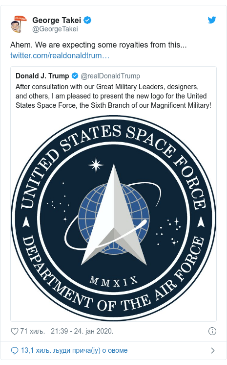 Twitter post by @GeorgeTakei: Ahem. We are expecting some royalties from this...