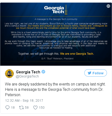Twitter post by @GeorgiaTech: We are deeply saddened by the events on campus last night. Here is a message to the Georgia Tech community from Dr. Peterson. pic.twitter.com/xvbfNIEVMY