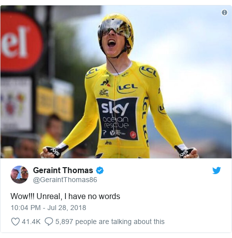 Twitter post by @GeraintThomas86: Wow!!! Unreal, I have no words