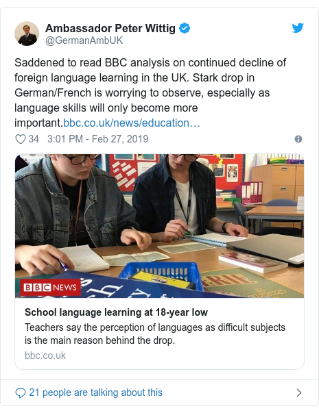 Twitter post by @GermanAmbUK: Saddened to read BBC analysis on continued decline of foreign language learning in the UK. Stark drop in German/French is worrying to observe, especially as language skills will only become more important.