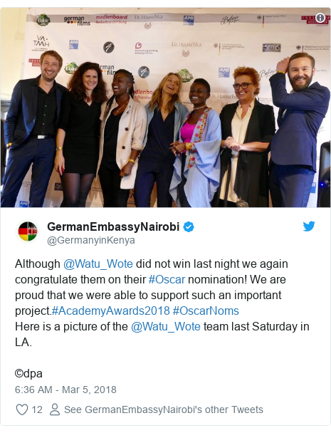 Ujumbe wa Twitter wa @GermanyinKenya: Although @Watu_Wote did not win last night we again congratulate them on their #Oscar nomination! We are proud that we were able to support such an important project.#AcademyAwards2018 #OscarNoms Here is a picture of the @Watu_Wote team last Saturday in LA. ©dpa