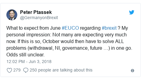 Twitter post by @GermanyonBrexit: What to expect from June #EUCO regarding #brexit ? My personal impression  Not many are expecting very much now. If this is so, October would then have to solve ALL problems (withdrawal, NI, governance, future …) in one go. Odds still unclear.