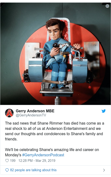 Twitter post by @GerryAndersonTV: The sad news that Shane Rimmer has died has come as a real shock to all of us at Anderson Entertainment and we send our thoughts and condolences to Shane's family and friends.We'll be celebrating Shane's amazing life and career on Monday's #GerryAndersonPodcast