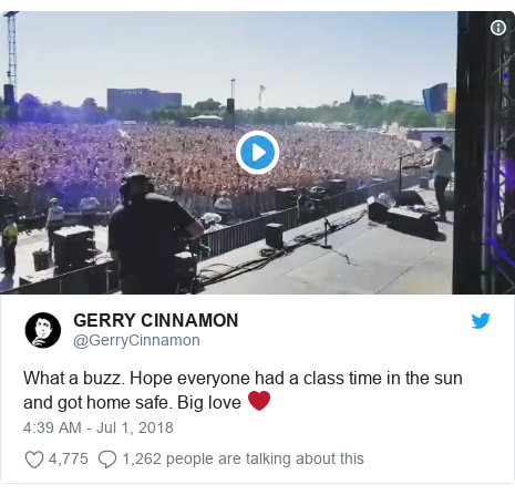 Twitter post by @GerryCinnamon: What a buzz. Hope everyone had a class time in the sun and got home safe. Big love ❤️