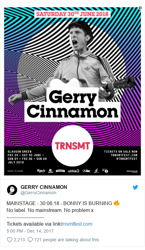Twitter post by @GerryCinnamon: MAINSTAGE - 30 06 18 - BONNY IS BURNING 🔥No label. No mainstream. No problem.x------------------------Tickets available via link