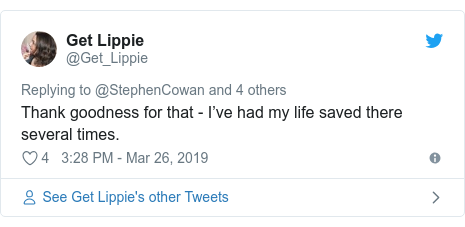 Twitter post by @Get_Lippie: Thank goodness for that - I've had my life saved there several times.