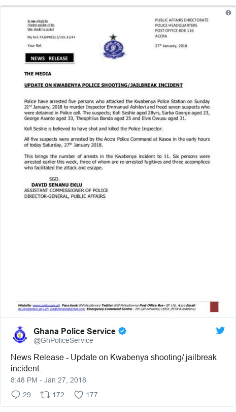 Twitter post by @GhPoliceService: News Release - Update on Kwabenya shooting/ jailbreak incident.