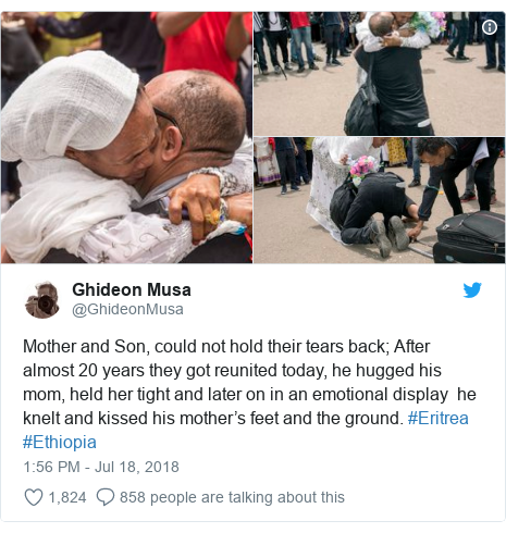 Twitter post by @GhideonMusa: Mother and Son, could not hold their tears back; After almost 20 years they got reunited today, he hugged his mom, held her tight and later on in an emotional display  he knelt and kissed his mother's feet and the ground. #Eritrea #Ethiopia