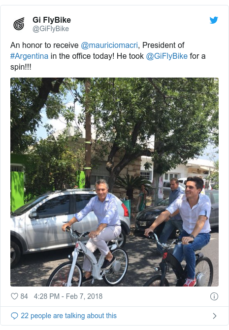 Twitter post by @GiFlyBike: An honor to receive @mauriciomacri, President of #Argentina in the office today! He took @GiFlyBike for a spin!!!