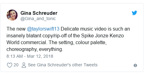 Twitter post by @Gina_and_tonic: The new @taylorswift13 Delicate music video is such an insanely blatant copy/rip-off of the Spike Jonze Kenzo World commercial. The setting, colour palette, choreography, everything.