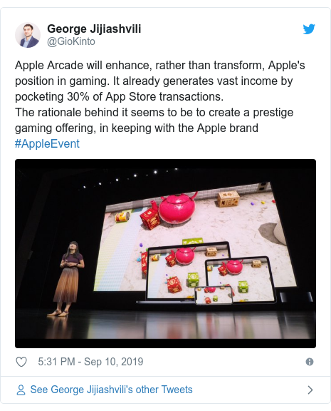 Twitter post by @GioKinto: Apple Arcade will enhance, rather than transform, Apple's position in gaming. It already generates vast income by pocketing 30% of App Store transactions. The rationale behind it seems to be to create a prestige gaming offering, in keeping with the Apple brand #AppleEvent