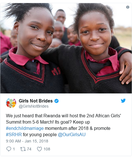 Twitter post by @GirlsNotBrides: We just heard that Rwanda will host the 2nd African Girls' Summit from 5-6 March! Its goal? Keep up #endchildmarriage momentum after 2018 & promote #SRHR for young people @OurGirlsAU