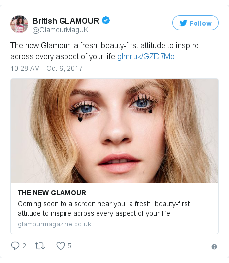 Twitter post by @GlamourMagUK: The new Glamour  a fresh, beauty-first attitude to inspire across every aspect of your life https //t.co/ynPPczX5og