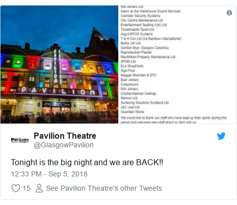 Twitter post by @GlasgowPavilion: Tonight is the big night and we are BACK!!