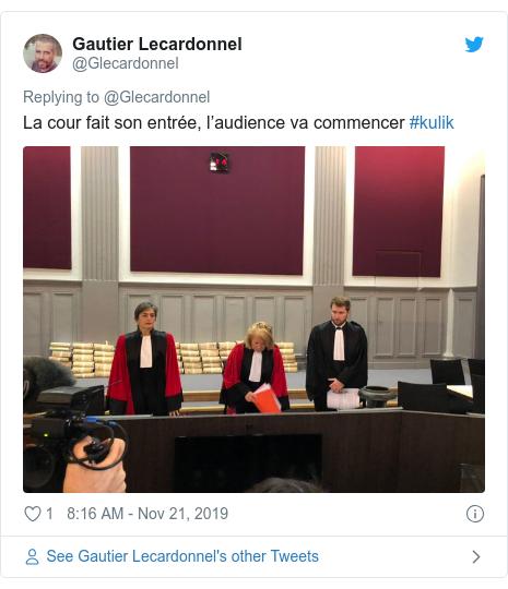 Twitter post by @Glecardonnel: La cour fait son entrée, l'audience va commencer #kulik