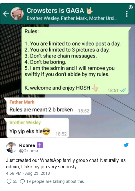 Twitter post by @Gloaree: Just created our WhatsApp family group chat. Naturally, as admin, I take my job very seriously.