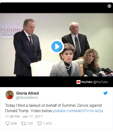 Twitter post by @GloriaAllred: Today I filed a lawsuit on behalf of Summer Zervos against Donald Trump. Video below.