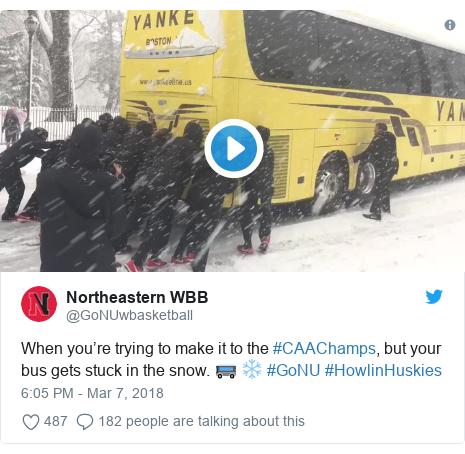 Twitter post by @GoNUwbasketball: When you're trying to make it to the #CAAChamps, but your bus gets stuck in the snow. 🚌 ❄️ #GoNU #HowlinHuskies