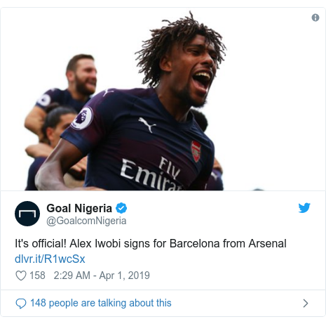 Twitter post by @GoalcomNigeria: It's official! Alex Iwobi signs for Barcelona from Arsenal